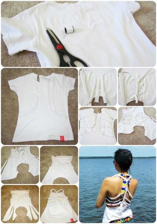 how to make DIY braided back shirt