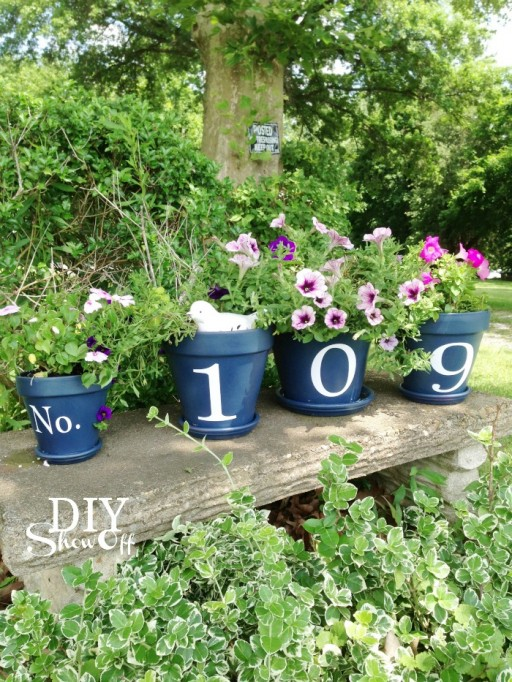how to make DIY flower pot house number