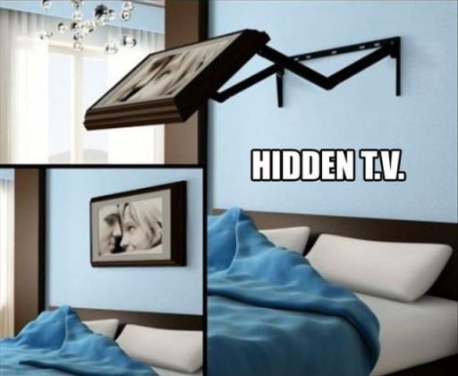 Creative Hidden TV mount perfect for bedroom