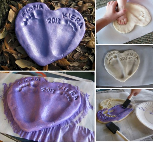 Cute DIY Salt Dough Heart Baby Footprint Tutorial