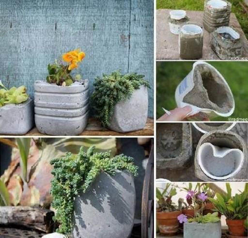 DIY Creative Concrete Planters