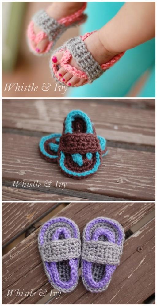 DIY Crochet Baby Flip Flop Sandals 2