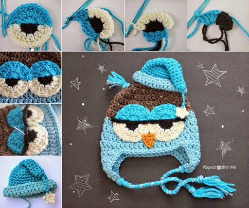 DIY Crochet Drowsy Owl Hat Free Pattern