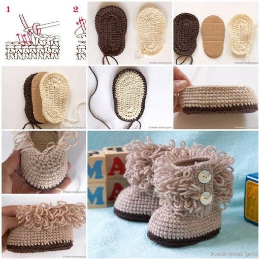 DIY Hook Knit Baby Booties Tutorial & Free Pattern 2