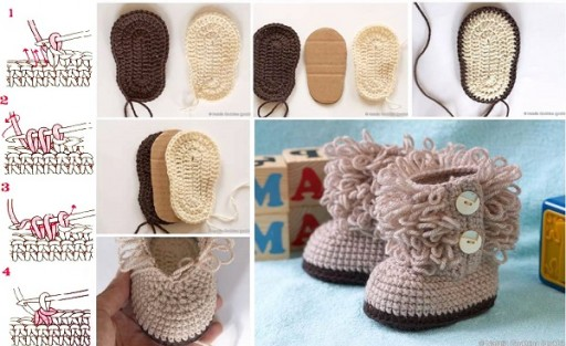 Hook Knitting Patterns : Diy hook knit baby booties tutorial & free pattern tag