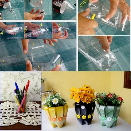 DIY flower vase with recycled plastic bottles