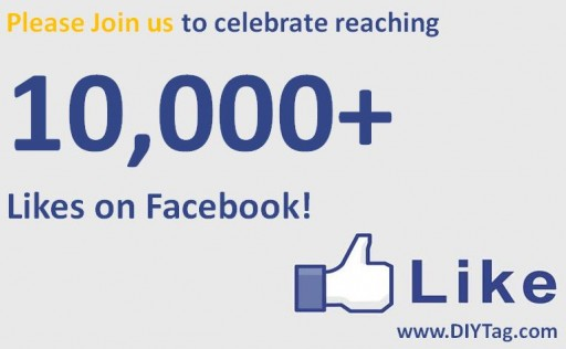 DIYTag.com has reached 10,000+ Likes on Facebook