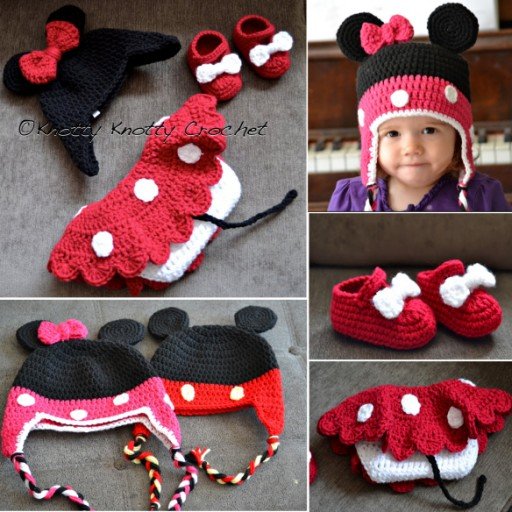Free Minnie Little Mouse Hat Shoes And Skirt Crochet Pattern