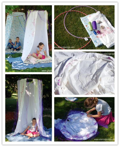 Fun DIY Hula Hoop Summer Camping Backyard Hideout Tent 2