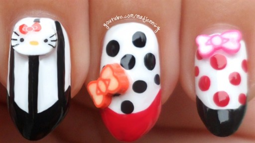 How To Do Cute Hello Kitty Stiletto Nail Art Manicure DIY Tutorial