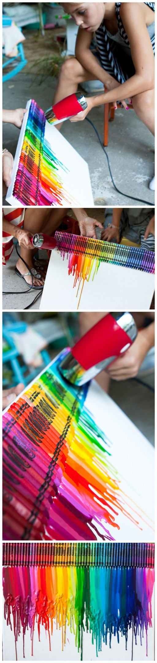 How To Make Colorful Meltiing Crayon Canvas Art 2
