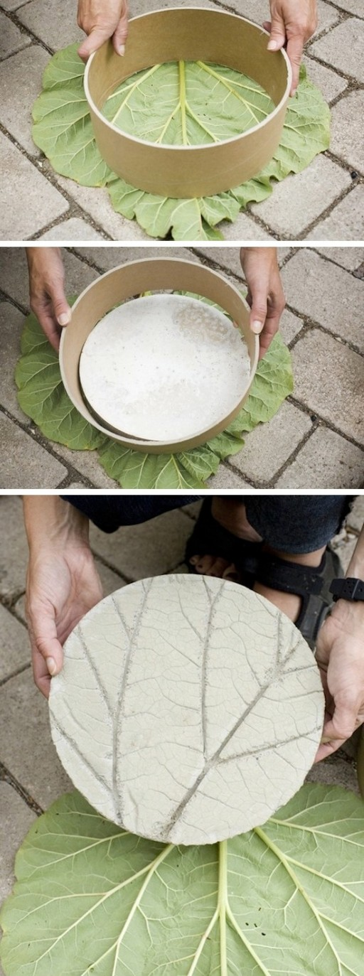 How To Make DIY Leaf Imprinted Garden Stepping Stones 2