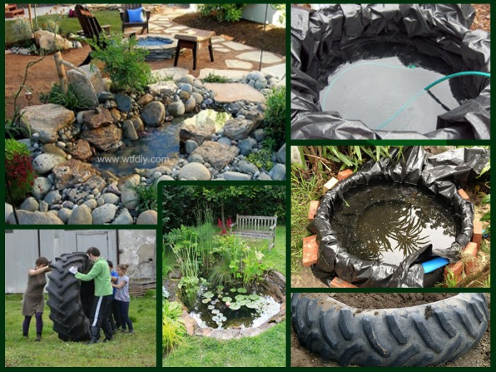 How to make diy tractor tire garden pond landscaping diy tag for Diy outdoor pond
