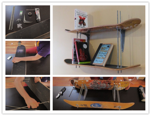 How To Turn Old Skateboards Into Bookshelves