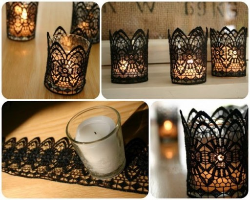 Beautiful Black Lace Candles