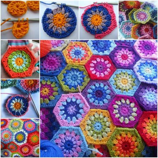DIY Colorful Starburst Hexagon Blanket Free Crochet Pattern