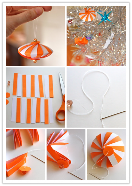 DIY Colorful Striped Paper Ornament Tutorial 2