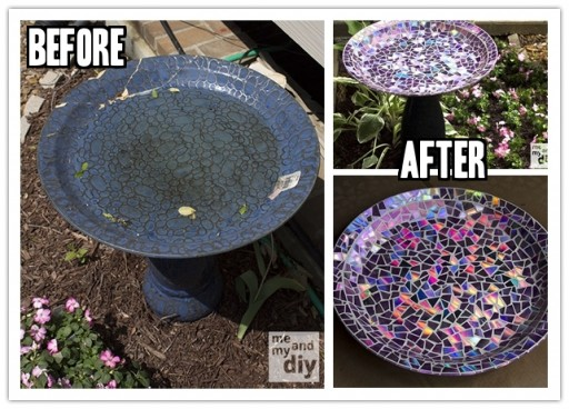 DIY Mosaic Tile Birdbath With Recycled DVDs 2