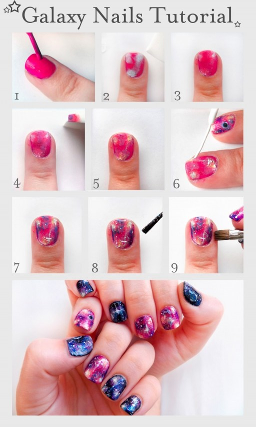 DIY Pretty Galaxy Nails Tutorial 2