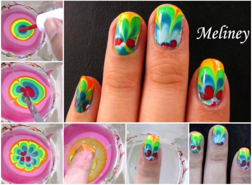 Diy Rainbow Water Marble Nail Art Tutorial Diy Tag
