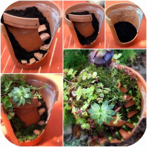 Fairy Garden With Broken Flower Pots DIY Tutorial