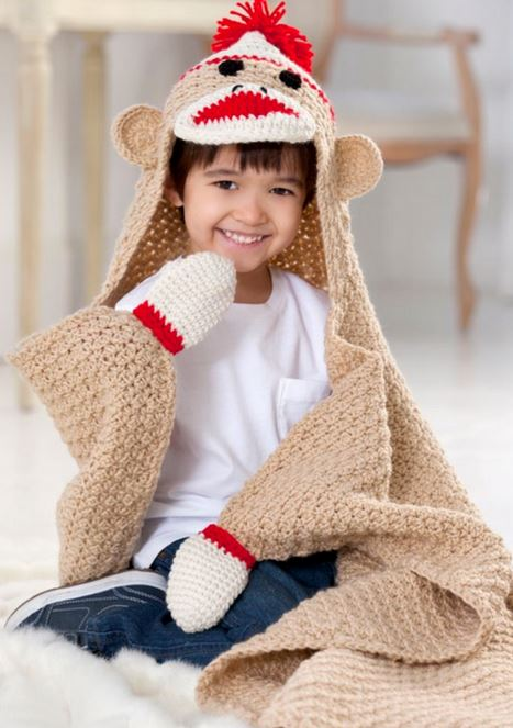 Free Crochet Pattern Of Super Cute Sock Monkey Blanket