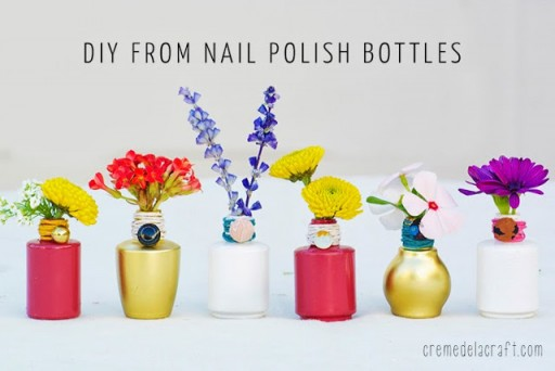 How To Make DIY Nail Polish Bottle Vase Tutorial 2