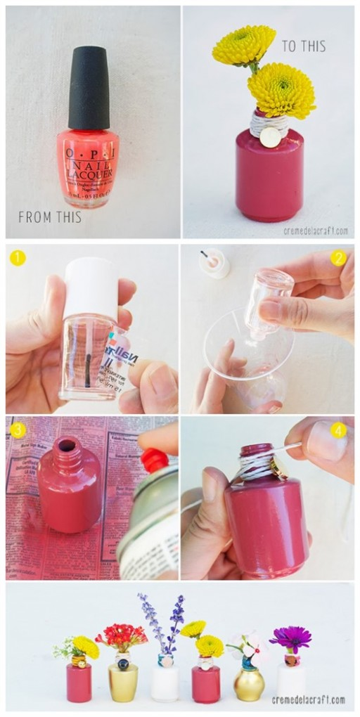 How To Make DIY Nail Polish Bottle Vase Tutorial