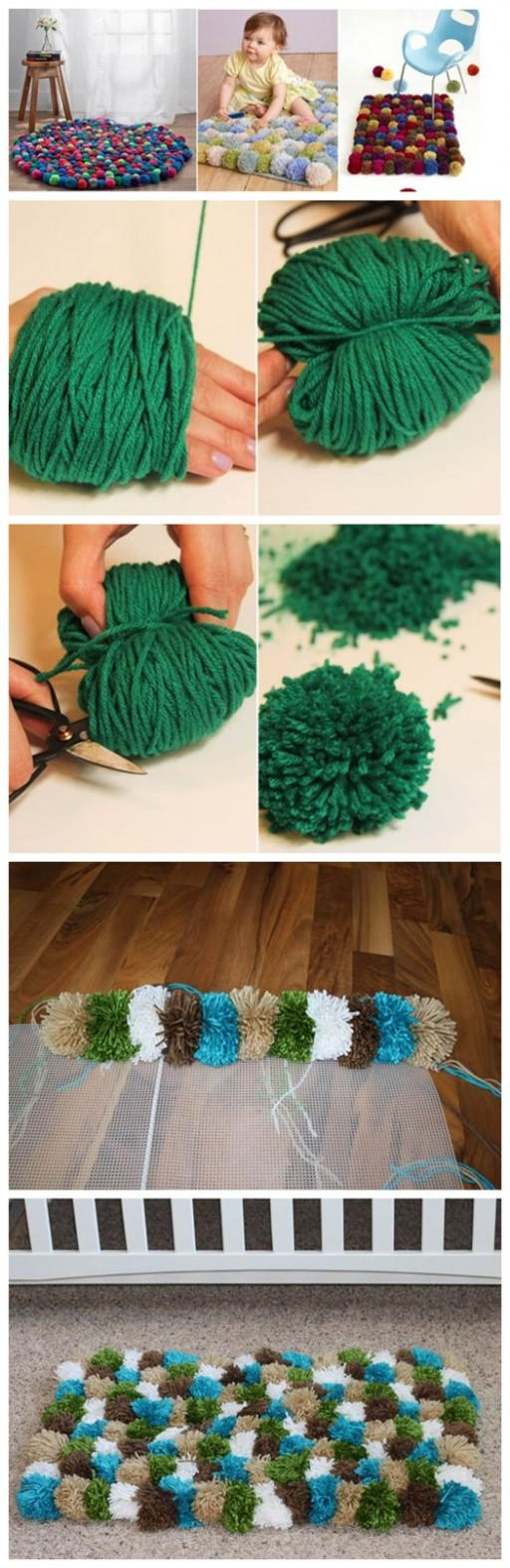 How To Make DIY Pom Pom Rugs Tutorial 2
