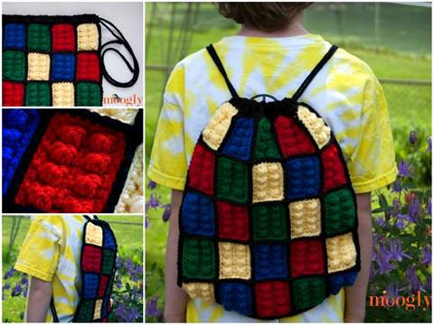 Lego Inspired Crochet Backpack Free Pattern