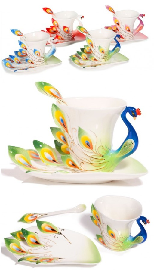 Lovely Hand Crafted Porcelain Tea Coffee Cup Set With Saucer & Spoon