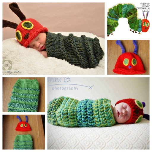 Free Knitting Pattern Baby Cocoon And Hat : Newborn Caterpillar Hat & Cocoon Free Crochet And Knitting Pattern DIY Tag