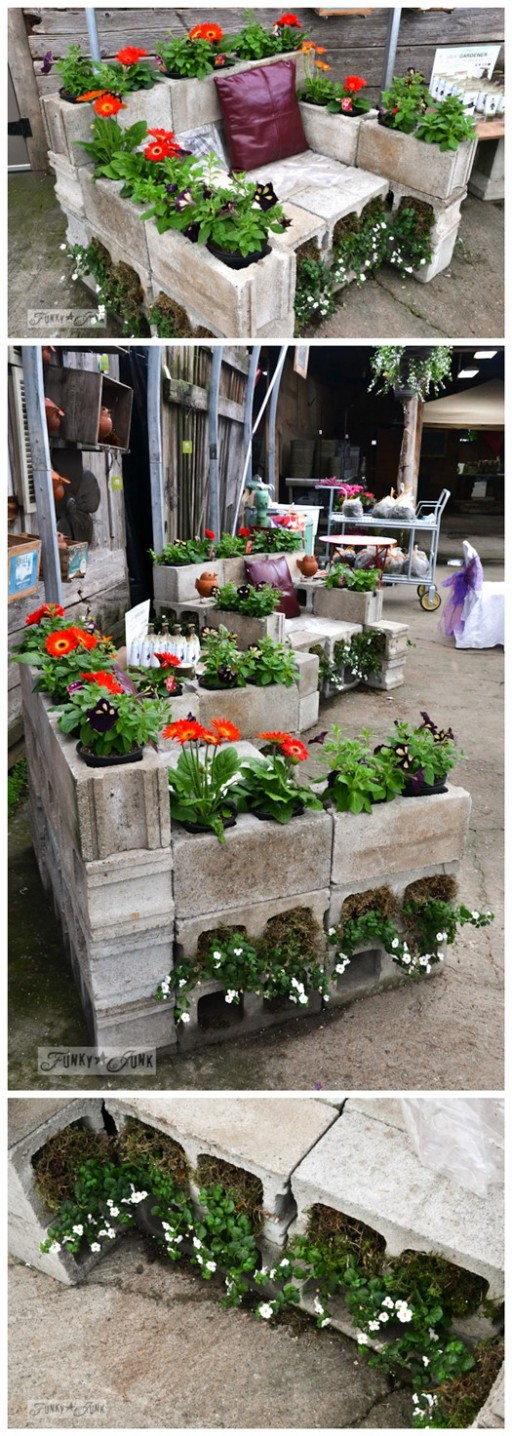 Cinder Block Garden Planter Chair 2
