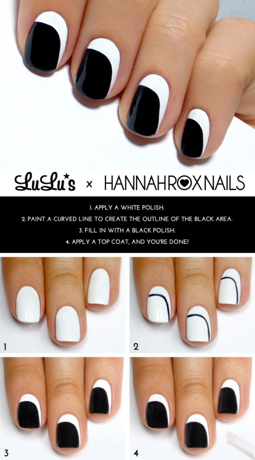 DIY Black And White Crescent Nail Art Manicure Tutorial