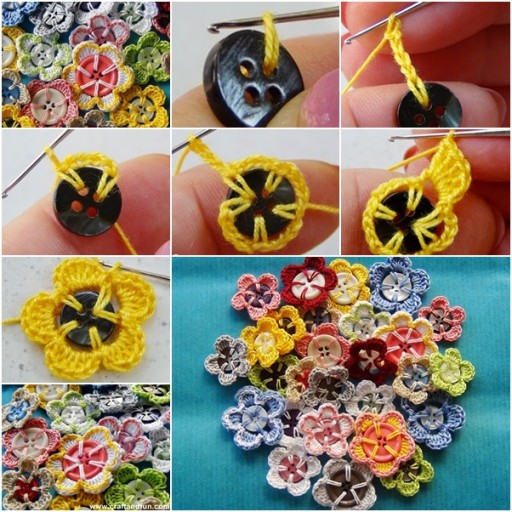 DIY Crochet Button Flower Tutorial