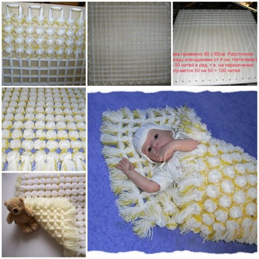DIY Pompom Baby Blanket Tutorial