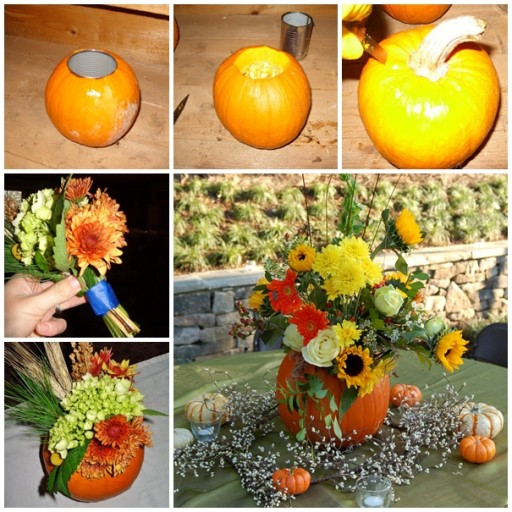 DIY Pumpkin Flower Arrangement Tutorial 1