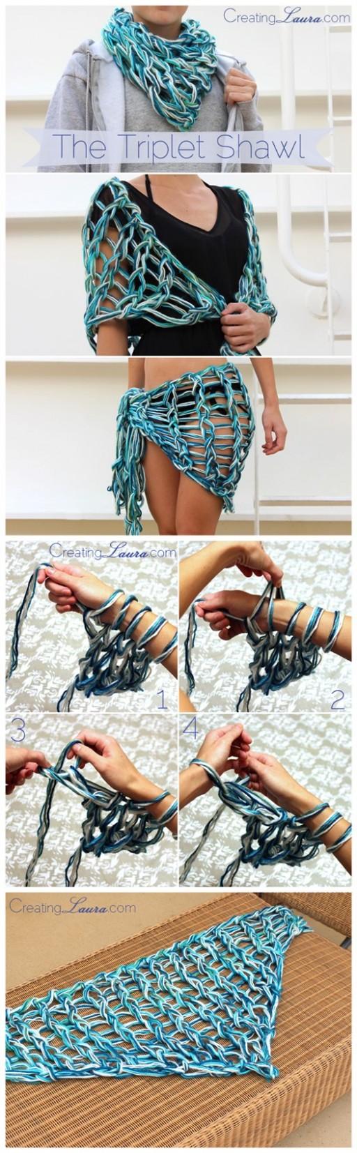 DIY Triplet Shawl Free Arm Knitting Pattern 2