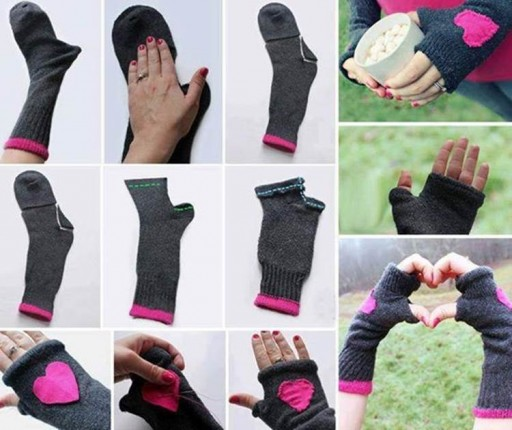 Fingerless Gloves From Socks DIY Tutorial 2