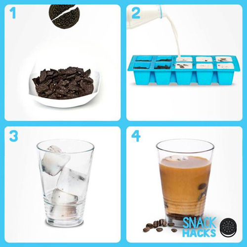 Homemade Oreo Milk Ice Cube Coffee DIY Instructions