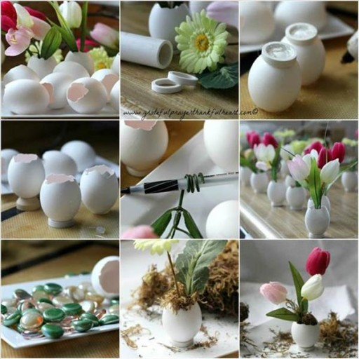 How To Make Cute Eggshell Flower Vases