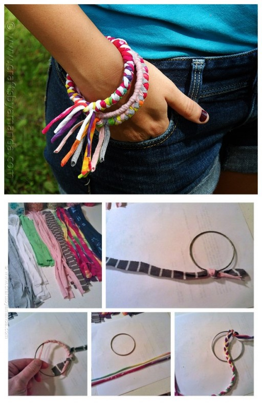 How To Make DIY Bracelets With Recycled T-shirts 1