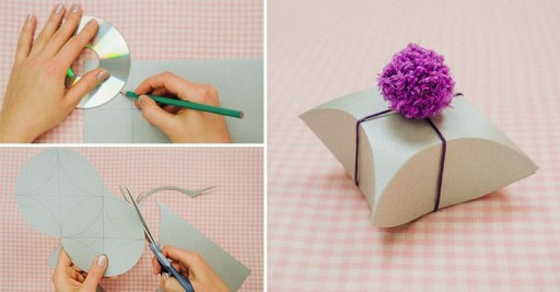 How To Make Square Pillow Gift Box With Old CDs DIY Tutorial