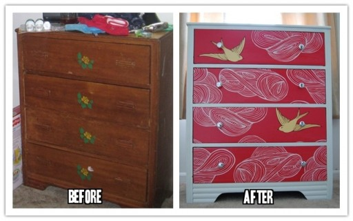 How To Makeover An Old Dresser With Leftover Wallpaper