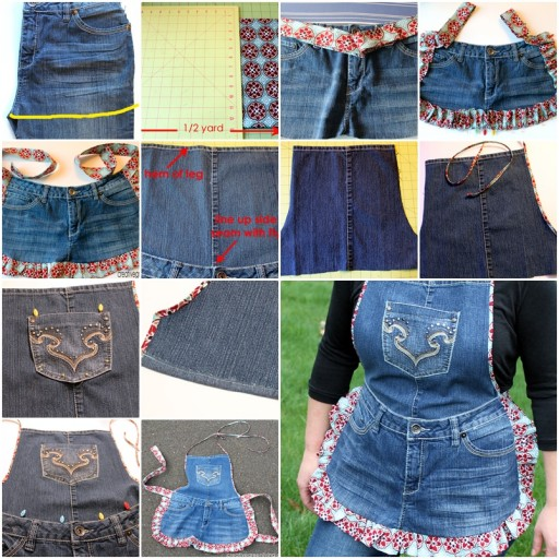 How To Recycle Used Jeans Into A DIY Farm Girl Apron