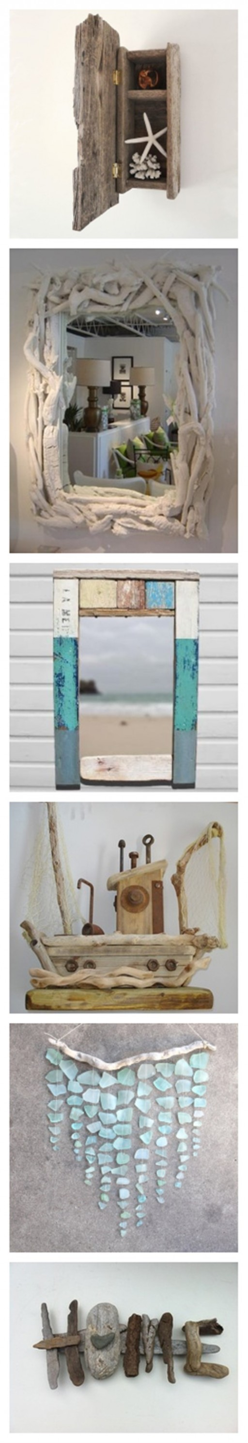 Inspirational Crafts With Beach Driftwood And Sea Glasses 1