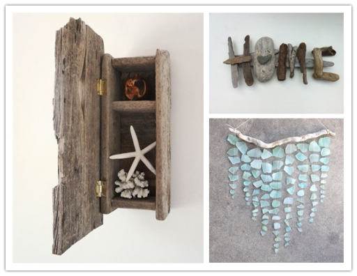 Inspirational Crafts With Beach Driftwood And Sea Glasses