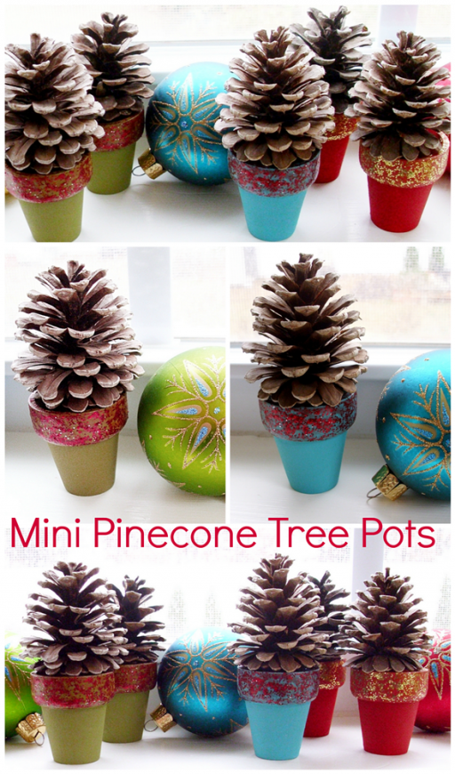 Mini Pine Cone Tree Pot DIY Tutorial 1