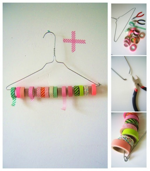 Simple DIY Tape And Ribbon Organizer With A Cloth Hanger