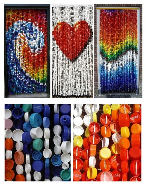 Wonderful DIY Fly Curtain Made Of Plastic Bottle Caps 1
